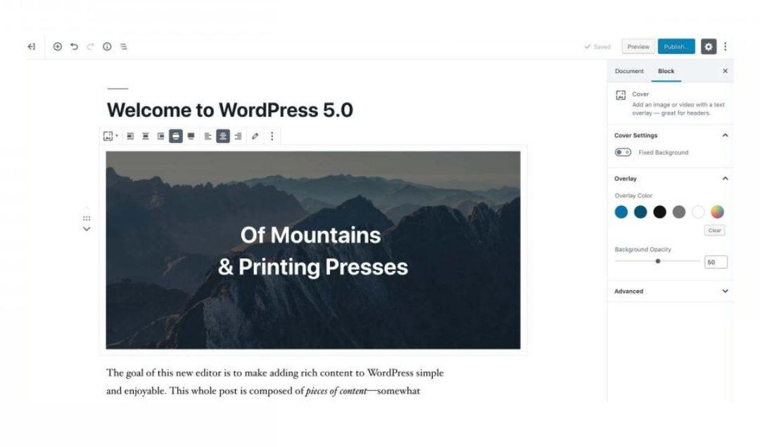 wordpress version 5.0 updates